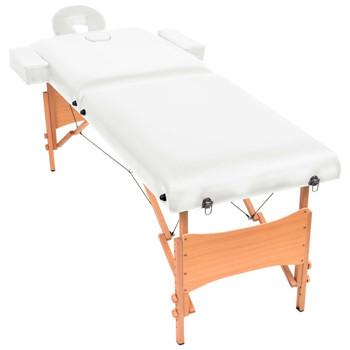 vidaXL Sklopivi dvodijelni masažni stol debljine 10 cm bijeli