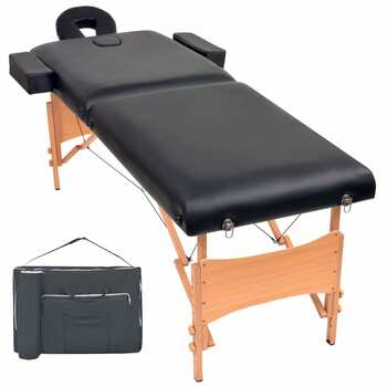 vidaXL Sklopivi dvodijelni masažni stol debljine 10 cm crni