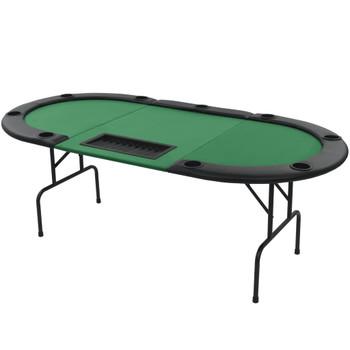 vidaXL Sklopivi trodijelni stol za poker za 9 igrača ovalni zeleni