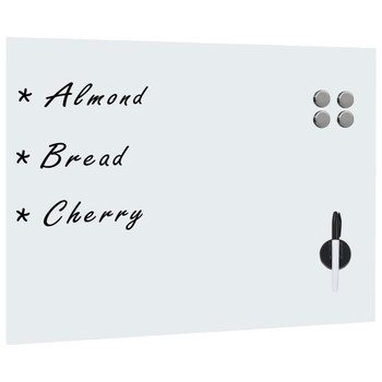 vidaXL Zidna bijela magnetna ploča od stakla 80 x 60 cm