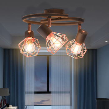 vidaXL Stropna svjetiljka s 3 reflektora E14 crna i bakrena