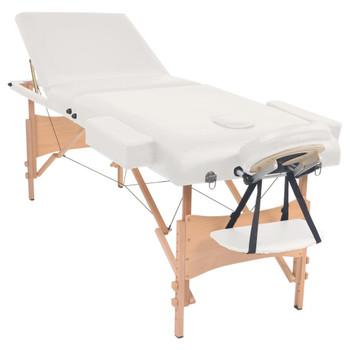 vidaXL Sklopivi trodijelni masažni stol debljine 10 cm bijeli