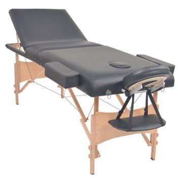 vidaXL Sklopivi trodijelni masažni stol debljine 10 cm crni