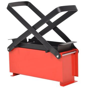 vidaXL Preša za izradu briketa od papira čelična 34 x 14 x 14 cm crno-crvena