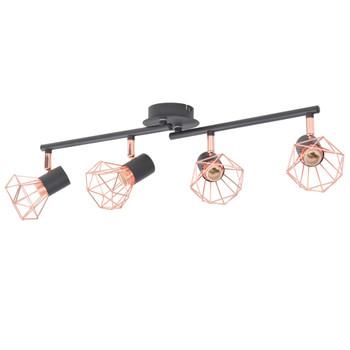 vidaXL Stropna svjetiljka s 4 reflektora E14 crna i bakrena