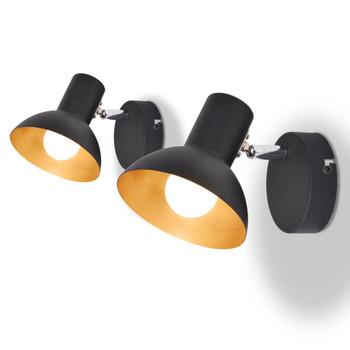 vidaXL Zidne svjetiljke 2 kom za 2 žarulje E27 crno-zlatna