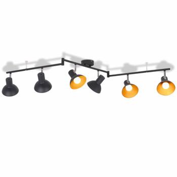 vidaXL Stropna svjetiljka za 6 žarulja E27 crno-zlatna