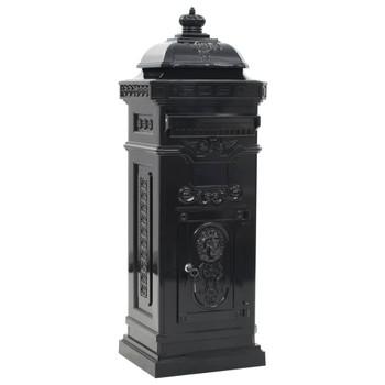 vidaXL Poštanski sandučić sa stupom u vintage stilu nehrđajući crni