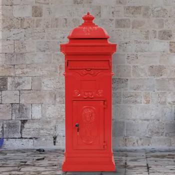 vidaXL Poštanski sandučić sa stupom u vintage stilu nehrđajući crveni