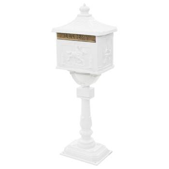 vidaXL Poštanski sandučić s postoljem u vintage stilu nehrđajući bijeli