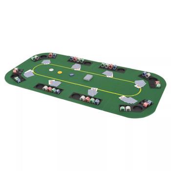 vidaXL Sklopiva četverodijelna podloga za poker stol za 8 igrača pravokutna zelena