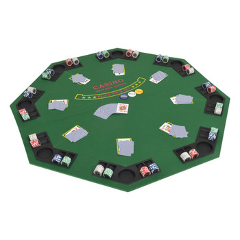 vidaXL Sklopiva dvodijelna podloga za poker stol za 8 igrača osmerokutna zelena