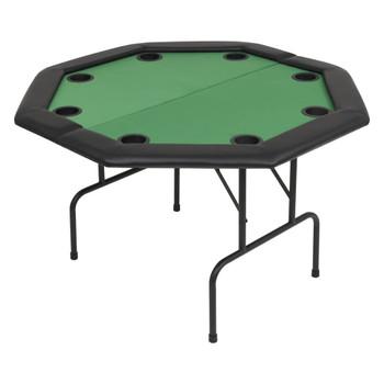vidaXL Sklopivi dvodijelni stol za poker za 8 igrača osmerokutni zeleni