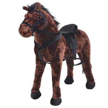 vidaXL Stojeća igračka plišani konjić tamnosmeđi XXL