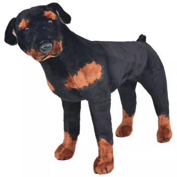 vidaXL Stojeća igračka plišani pas rotvajler crno-smeđi XXL