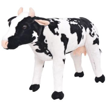 vidaXL Stojeća igračka plišana krava crno-bijela XXL