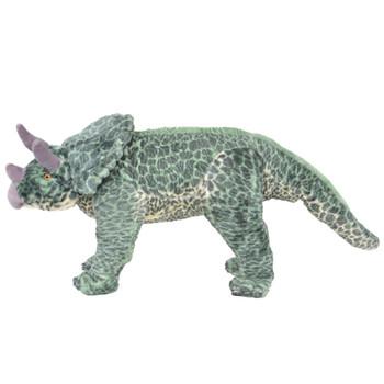 vidaXL Stojeća plišana igračka dinosaur triceratops zeleni XXL