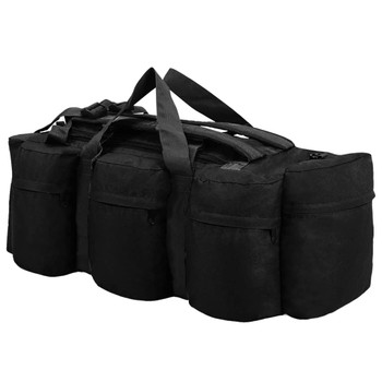 vidaXL 3-u-1 torba u vojničkom stilu 120 l crna