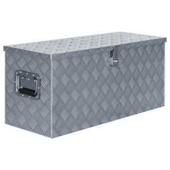 vidaXL Aluminijska kutija 90,5 x 35 x 40 cm srebrna