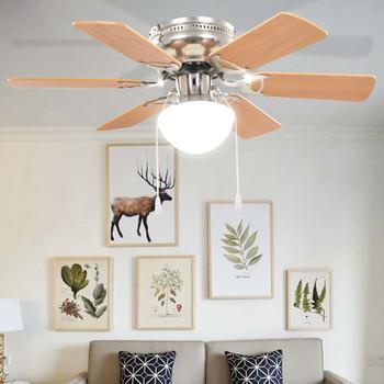 vidaXL Ukrasni stropni ventilator sa svjetlom 82 cm svijetlosmeđi