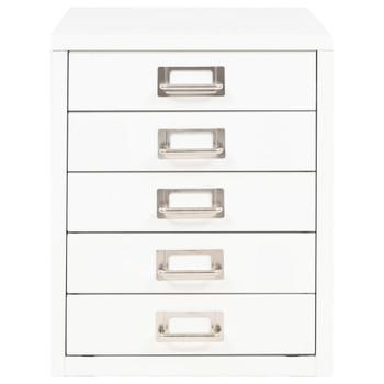 vidaXL Ormarić za spise s 5 ladica metalni 28 x 35 x 35 cm bijeli