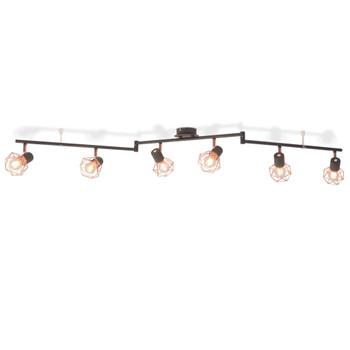 vidaXL Stropna svjetiljka s 6 reflektora E14 crna i bakrena