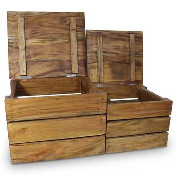 vidaXL Dvodijelni set sanduka za pohranu od masivnog obnovljenog drva