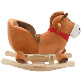 vidaXL Plišani konjić za ljuljanje s naslonom 60 x 32 x 50 cm smeđi