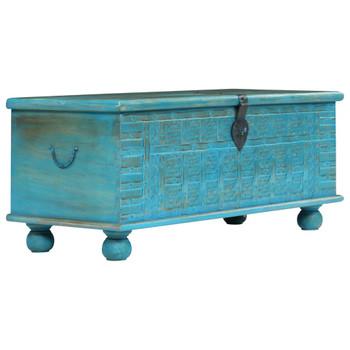 vidaXL Škrinja za pohranu od masivnog drva manga plava 100 x 40 x 41 cm