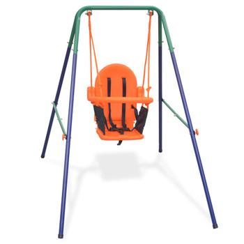 vidaXL Set s ljuljačkom za dijete sa zaštitnim pojasom narančasti