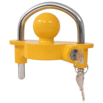 vidaXL Lokot za prikolicu s 2 ključa od legure čelika i aluminija žuti