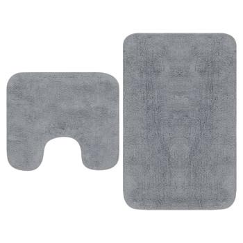 vidaXL 2-dijelni set kupaonskih otirača od tkanine sivi