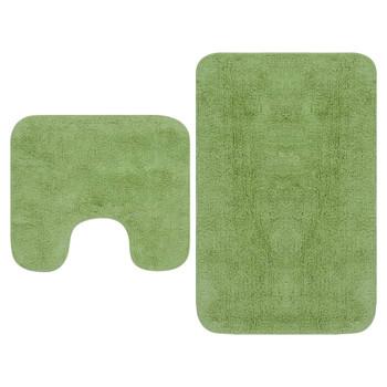 vidaXL 2-dijelni set kupaonskih otirača od tkanine zeleni
