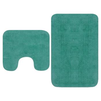 vidaXL 2-dijelni set kupaonskih otirača od tkanine tirkizni