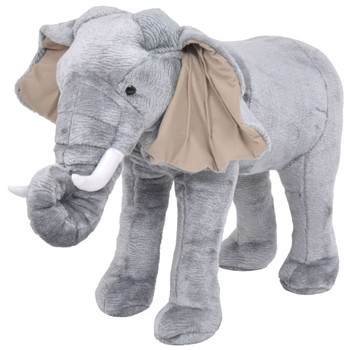 vidaXL Stojeća plišana igračka slon sivi XXL