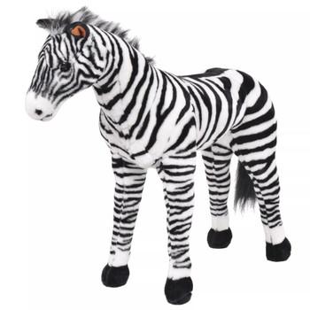 vidaXL Stojeća plišana igračka zebra crno-bijela XXL