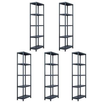 vidaXL Stalci za pohranu 5 kom crni 125 kg 60 x 30 x 180 cm plastični