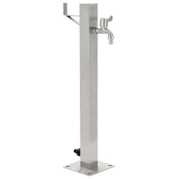 vidaXL Vrtni stup za vodu od nehrđajućeg čelika kvadratni 65 cm