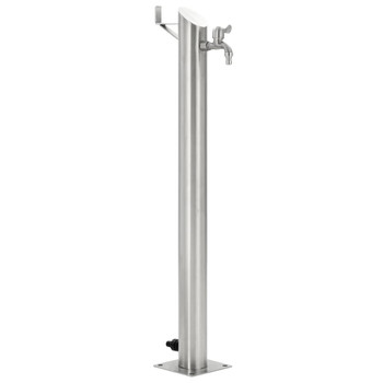 vidaXL Vrtni stup za vodu od nehrđajućeg čelika okrugli 95 cm