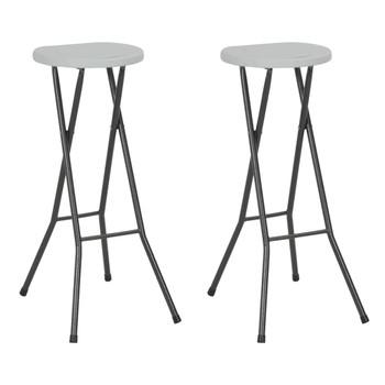 vidaXL Sklopivi barski stolci od HDPE-a i čelika 2 kom bijeli