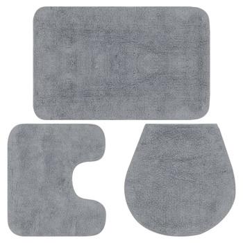 vidaXL 3-dijelni set kupaonskih otirača od tkanine sivi