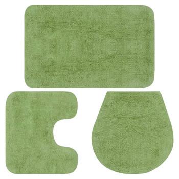 vidaXL 3-dijelni set kupaonskih otirača od tkanine zeleni