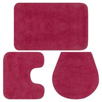 vidaXL 3-dijelni set kupaonskih otirača od tkanine boja fuksije