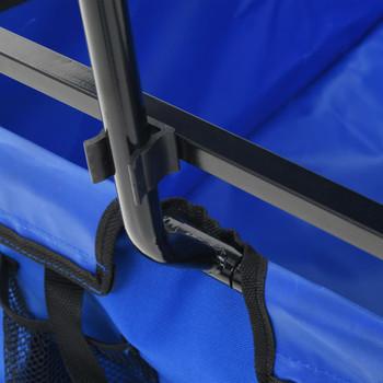 vidaXL Sklopiva ručna kolica s tendom čelična plava