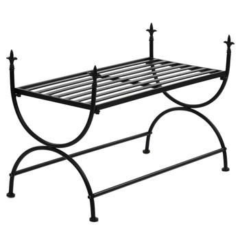vidaXL Klupa u starinskom stilu metalna 83 x 42 x 55 cm crna