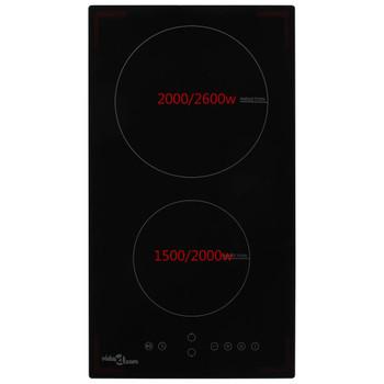 vidaXL Indukcijska ploča za kuhanje s 2 plamenika staklena 3500 W