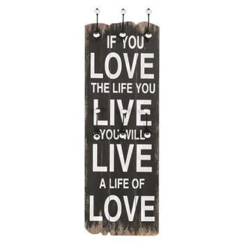 vidaXL Zidna vješalica za kapute sa 6 kuka LOVE LIVE 120 x 40 cm