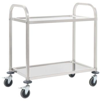 vidaXL Kuhinjska kolica s 2 razine od nehrđajućeg čelika 87x45x83,5 cm