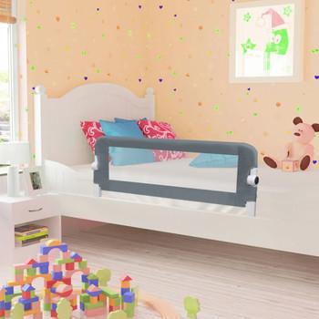 vidaXL Sigurnosna ogradica za dječji krevet siva 102 x 42 cm poliester