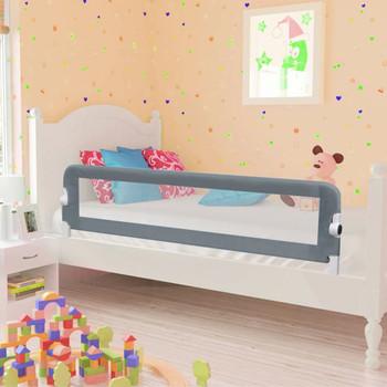 vidaXL Sigurnosna ogradica za dječji krevet siva 120 x 42 cm poliester